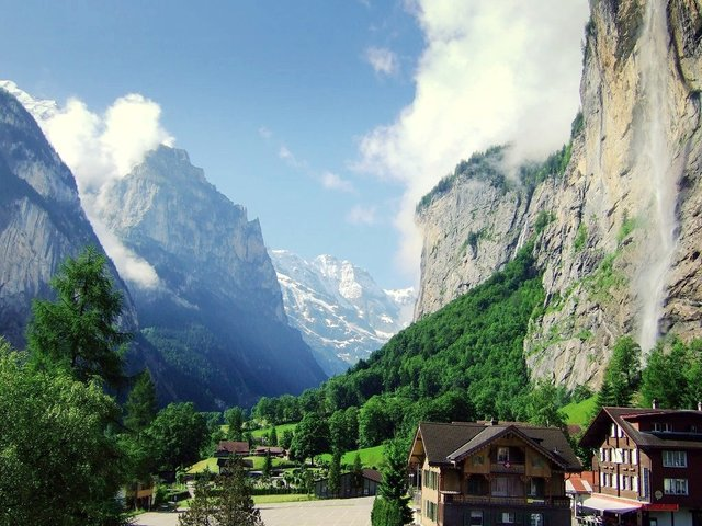 Lauterbrunnen Valley in Switzerland in Summer