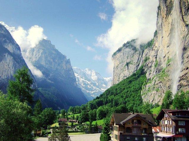 Lauterbrunnen Valley in Switzerland in Summer