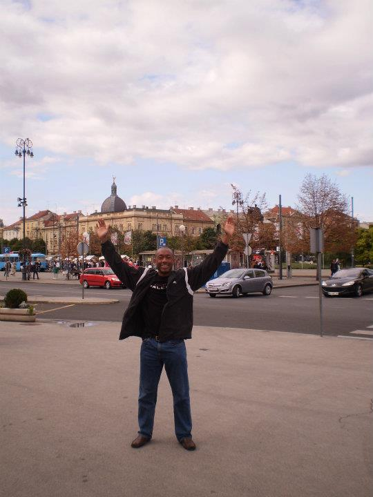 Me at the train station in Zagreb, Croatia